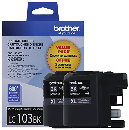 Brother LC1032PKS Printer High Yield Cartridge Ink Black (2-Pack) (Brother Lc103bk Xl compare prices)