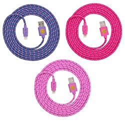 6ft(2m) High Quality Braided Nylon Lightning Charging Cables for Apple iPhone iPhone 6, 6 Plus, 5 5C 5S, iPad Air, iPad 4, iPad Mini, iPod Touch 5, Nano 7 - 8 pin to USB - 3pack (Purple.hotpink.pink)