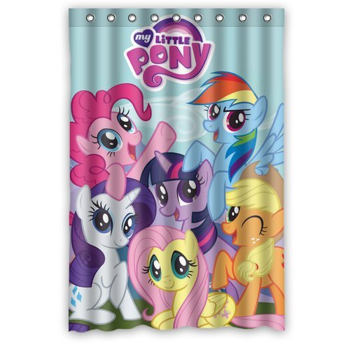 Custom Unique Design Cartoon My Little Pony Rainbow Waterproof Fabric Shower Curtain, 72 By 48-Inch back-621688