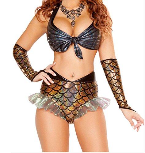 PEGGYNCO Womens 3pcs Gold Mermaid Princess Costume Size M (Adult Princess Bubblegum Costume)