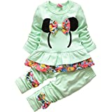 2pcs Kids Girls Round Neck Tracksuit Floral Pant Suit Outfit Child Clothes 0-4 Y (For 1-2 years(M), Green)