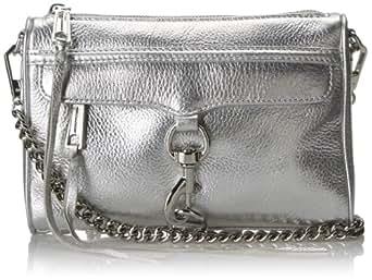 Rebecca Minkoff Mini MAC Convertible Cross-Body Handbag,Silver,One Size
