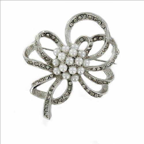Designed Pearl & Stone Brooch #033521