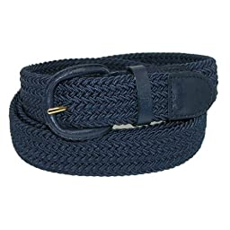 CTM® Mens Elastic Braided Belt with Covered Buckle (Big & Tall Available), XXXL, Navy