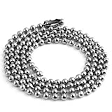 50pcs Nickel Plated Ball Chain Necklace, 24 Inches Long 2.4mm Bead Size # 3 Metal Bead Steel Chain, Military bead chain, Dog Tag Necklace by Special100%
