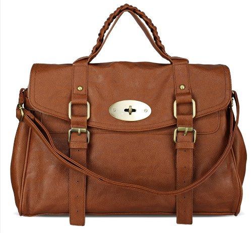 Womens Designer Tan Brown Satchel Fashion Handbag