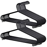 AMOS 20 X Plastic Clothes Hanger Garment Coat Dress Skirt Adult Size Hangers with Suit Trouser Bar & Lips (Black)
