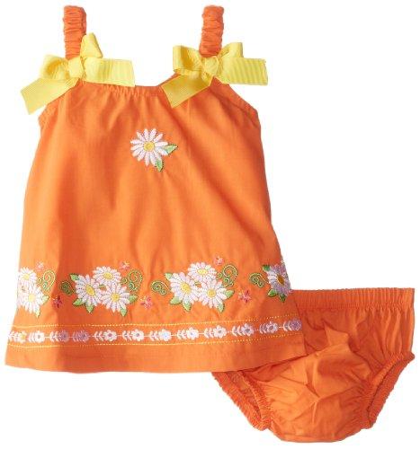 Nannette Baby-Girls Newborn 2 Piece Daisy Bow Dress Set, Orange, 3-6 Months