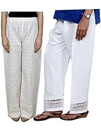 Indistar Women Full Cotton Chikan Cream Palazzo With Cotton White Chaudi Lace Semi- Patiala Salwar - Free Size (Pack Of 1 Palazzo With 1 Patiala Salwar) - B01GL4ZVES