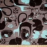 Fleece Zoo Animals Grey/Aqua Fabric By The Yard