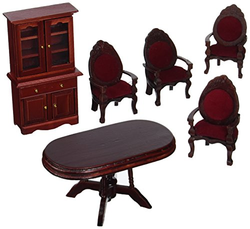 Melissa-Doug-Classic-Wooden-Dollhouse-Dining-Room-Furniture-6-pcs-Table-Armchairs-Hutch