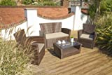 Arizona 4pc Rattan Garden or Conservatory Sofa Set - Armchairs, Sofa & Coffee Table
