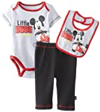Disney Baby-Boys Newborn Mickey Creeper Pant Bib Layette Gray, 3-6 Months