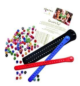 Shainsware BFF 2 Bracelets and 1 CuffKit Black, strawberry, lake