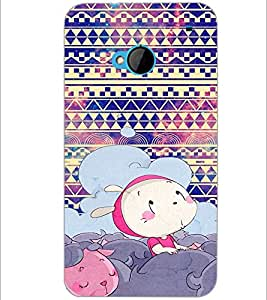 PrintDhaba Cartoon D-4332 Back Case Cover for HTC ONE M7 (Multi-Coloured)