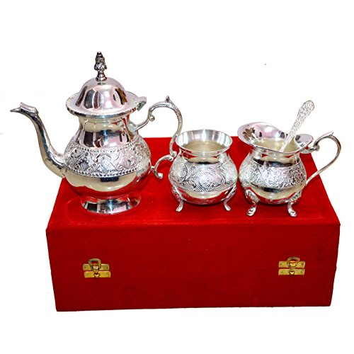 Royal Silver Plated Brass Tea Set with Lid