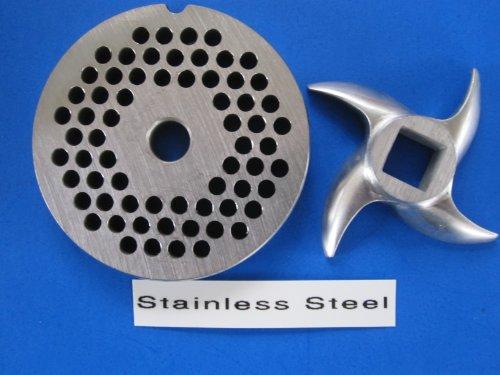 """#12 X 3/16"""" Set Meat Grinder Grinding Plate And Knife For Hobart Lem Cabelas Mtn Torrey Etc. *Stainless Steel*"""