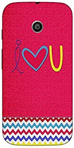 Snoogg I Love You Minimal Case Cover For Motorola E / Moto E