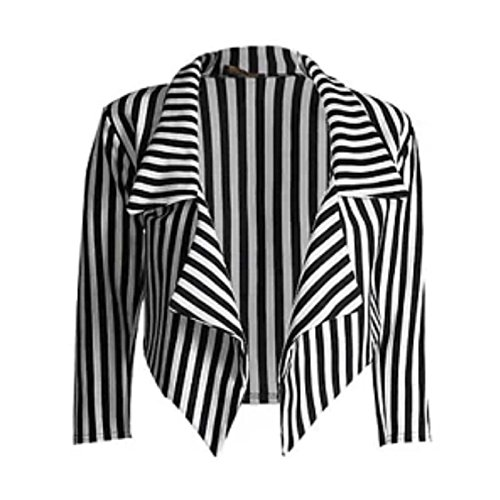 Low Cost Ladies Casual Black & White Striped Cropped Jacket - Sizes 4 to 10
