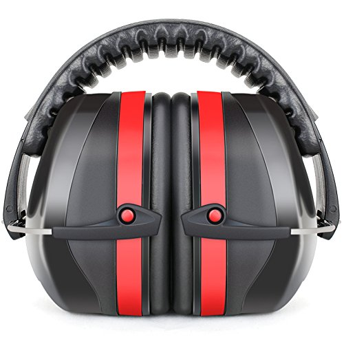 Fnova 34dB Highest NRR Safety Ear Muffs Shooter Hearing Protection, Certified. ANSI S3.19 & CE EN521, Compact, Adjustable Padded Head Band & Swivel Ear Cups with Soft Foam Fits Adults to Kids (Red)