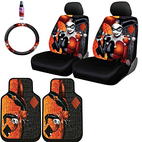 New Design 8 Pieces DC Comic Harley Quinn Car Seat Covers Floor Mats and Steering Wheel Cover Set with Travel Size Purple Slice (Car Seat Covers Harley Quinn compare prices)