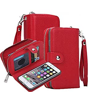 iPhone SE Case, iPhone 5 Case, Cellaria Zipper Cash Slot Series - [Card Slots][Button Closure] Flip PU Leather Wallet Case Cover With Detachable Magnetic Hard Case For iPhone SE/5s/5, Red