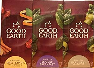 Good Earth Tea - Sweet & Spicy, English Breakfast, Earl Grey - 25 Tea Bags of Each