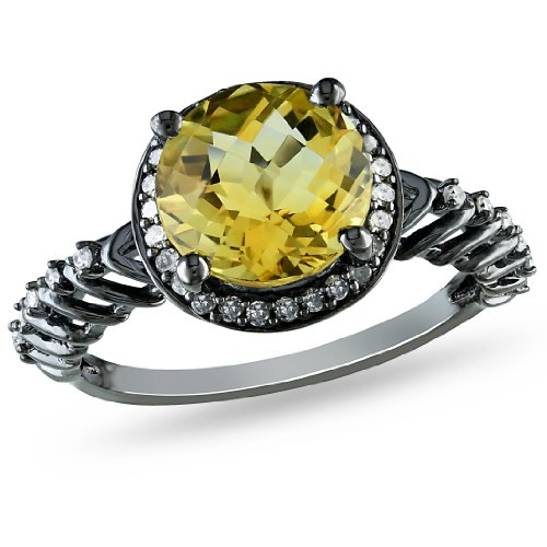 Sterling Silver Citrine and Diamond Ring, (0.2 cttw, G-H Color, I2-I3 Clarity), Size 7