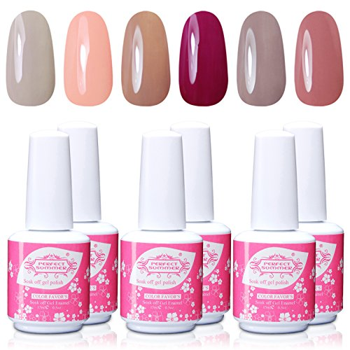 Perfect-Summer-Salon-Nail-Arts-Kits-6pcs-15ml-05oz-Gel-Polish-UV-Led-Light-Soak-Off-Glitter-Nail-Varnish-Colors-Hot-French-Manicure-Lacquers-Sets