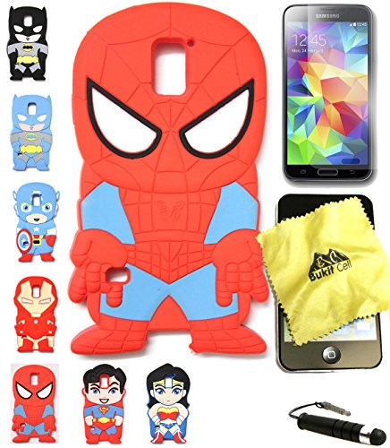 Bukit Cell 3D Superhero Bundle 4 Items: Spiderman Cute Justice League Cartoon Soft Silicone Case for Samsung Galaxy S5 V I9600 + Cleaning Cloth + Screen Protector + Metallic Stylus Touch Pen