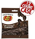 Jelly Belly Chocolate Dips Dark Chocolate Almonds 2.4 Ounce Bags (Pack of 12)