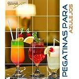 Pegatinas para azulejos Cocktails través de pajitas y naranjas tamaño de azulejo 20x25cm (Número de azulejos =...
