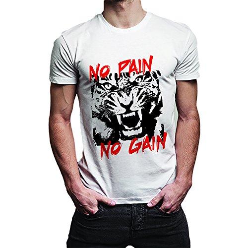 T Shirt Maglia Uomo No Pain No Gain Bianca XL Cotone Fiammato