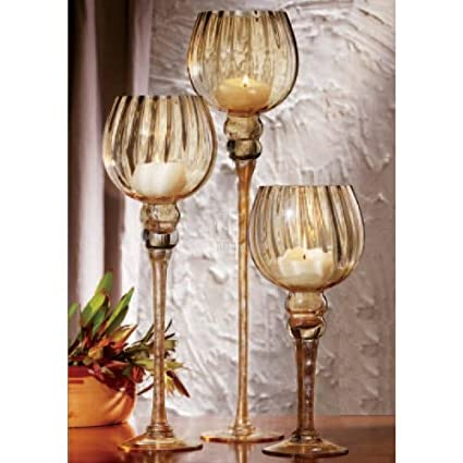 Charisma Amber Set Of 3 Hurricane Glasses Candle Holders by Home Essentials