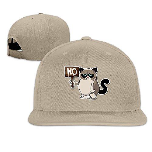 NJ Apparel NO Nope Grumpy Cat Baseball Hat Visor Flatbill Cap Natural