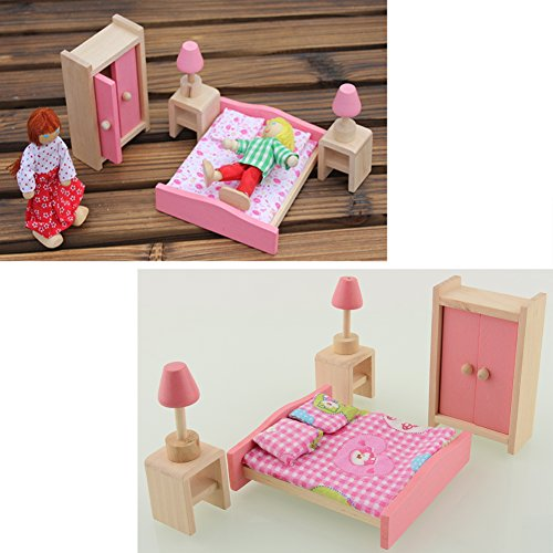 Soledi Wooden Doll Bedroom House Furniture Wardrob Bed Room Dollhouse Miniature Set For Kids
