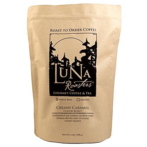 Luna Roasters® Creamy Caramel, Flavored Whole Bean, Artisan Roast Coffee (2Lbs.) (2 Pack)