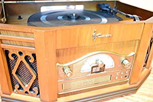 Emerson EME-NR303TTC 4-in-1 Vintage Classic Turntable Real Wood Stereo System with AM/FM Radio, CD, Cassette Tape, and Full Size Record Player (Discontinued by Manufacturer)