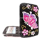 FOR SAMSUNG S3350 CHAT PINK LILAC BUTTERFLY RHINESTONE DIAMOND HARD CASE CRYSTAL DIAMANTE BACK COVER