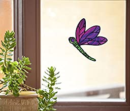 Dragonfly Stained Glass - D2 - Window Vinyl Decal Copyright © YYDCo. (4.75\