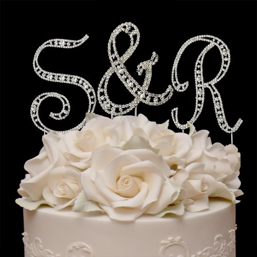 Raebella Weddings Silver Vintage Style Swarovski Crystal Monogram Initial Wedding Cake Topper 3Pc Letter Set + White Metal Love Design Small Photo Frame front-869600