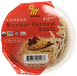 Minsley Cooked Organic Steelcut Oatmeal, 5-Ounce Cup (Pack of 8) by Minsley