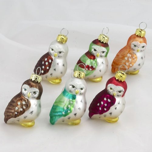Kurt Adler 1.96-Inch Glass Owl Ornaments, 6-Piece Set