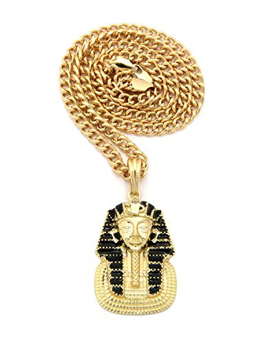 [Polished Pharaoh Head Black Striped Headdress Pendant 5mm 24