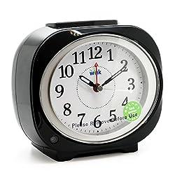JCC smart light night sensor non ticking sweep second hand bedside alarm clock (Black)