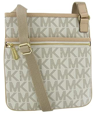 4378fc49a327 Michael Kors Jet Set Monogram Crossbody Women s Leather Handbag Purse White  Shoes