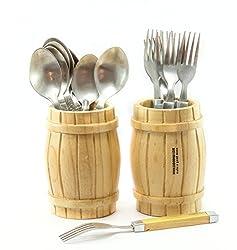 Barrel Cutlery Holder Wooden(set of 2) by Ekdodhai