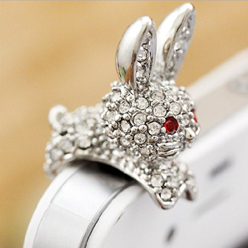 Jade Onlines 3.5Mm Rhinestone Crystal Cellphone Charms Stoppers Earphone Jack Anti Dust Plug Ear Jack- Cute Silver Lying Rabbit Style