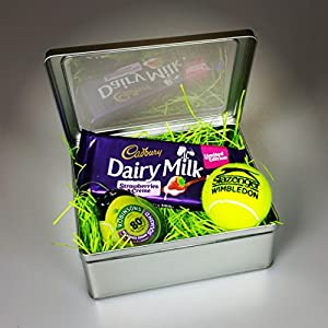 Wimbledon Tennis Fan Gift Tin Cadbury Strawberry And Cream, Robinson Juice , Tennis Ball By Moreton Gifts