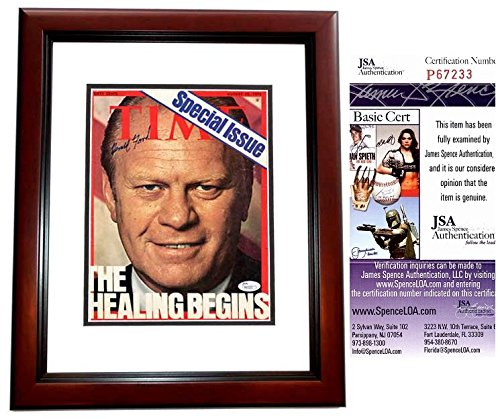 Gerald Ford Signed - Autographed Original 1974 TIME Magazine Cover - President Ford - Deceased 2006 - MAHOGANY CUSTOM FRAME - JSA Certificate of Authenticity (Gerald Ford Autograph compare prices)
